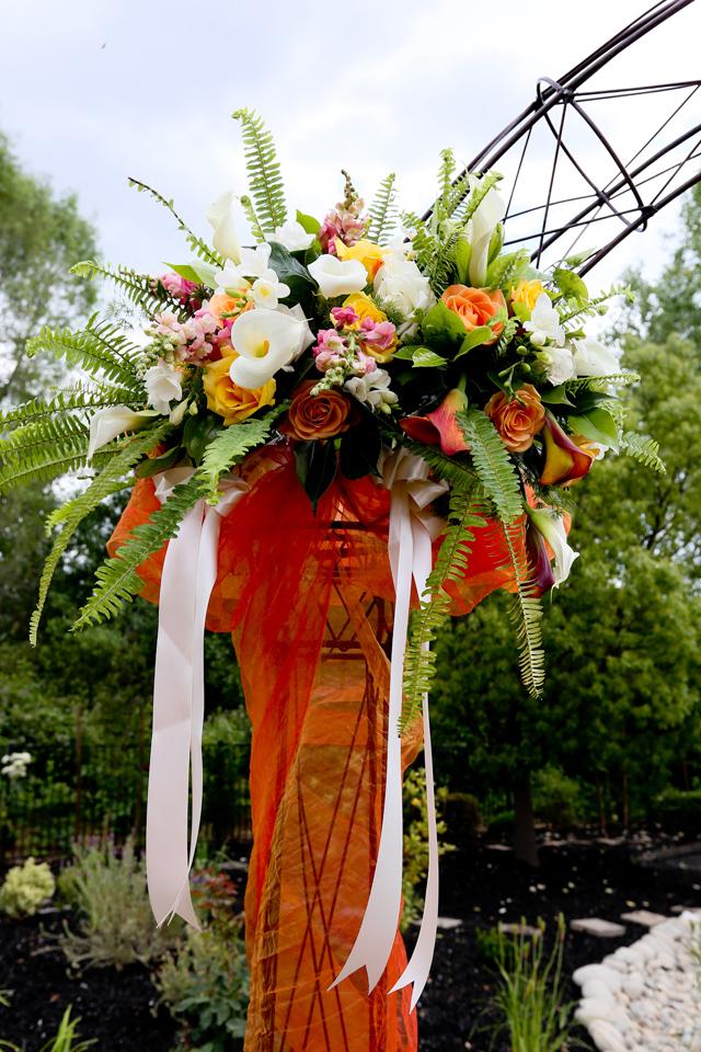 Granite bay wedding pedestal altar arrangement white orange pink flowers mightylinksfo